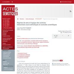 Régimes de sens et logique des sciences - Interactions socio-sémiotiques et avancées scientifiques