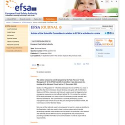 Advice of the Scientific Committee in relation to EFSA's activities in a crisisThe advice is based on a draft prepared by
