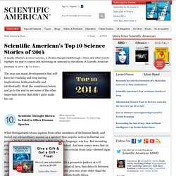 Scientific American's Top 10 Science Stories of 2014