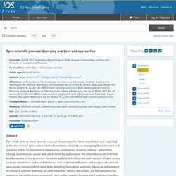 Open scientific journals: Emerging practices and approaches - IOS Press