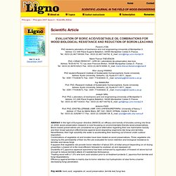 PRO LIGNO - DEC 2007 - EVALUATION OF BORIC ACID/VEGETABLE OIL COMBINATIONS FOR WOOD BIOLOGICAL RESISTANCE AND REDUCTION OF BORON
