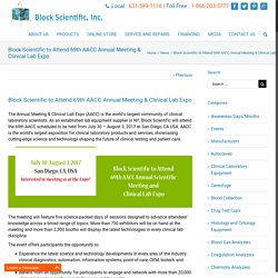 Block Scientific to Attend 69th AACC Meeting & Lab Expo 2017