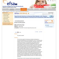 """Scientific Report of EFSA: Rapport de la task force sur la collecte de données relatives aux zoonoses concernant le """"Besoin de réviser les rapports de synthèse de la Communauté européenne sur les zoonoses et d'harmoniser la collecte de données dans"""