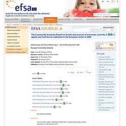 Scientific Report of EFSA: Rapport de synthèse communautaire sur les tendances et les sources des zoonoses, des agents zoonotiques et des foyers de toxi-infection alimentaire au sein de l'Union européenne en 2008