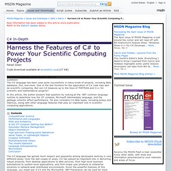 Harness C# to Power Your Scientific Computing Projects