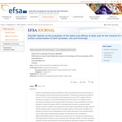 EFSA 26/07/11 Scientific Opinion on the evaluation of the safety and efficacy of lactic acid for the removal of microbial surface contamination of beef carcasses, cuts and trimmings