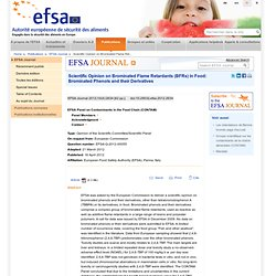 EFSA 16/04/12 Brominated phenols and their derivatives in food.
