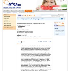 EFSA 11/07/12 Lead dietary exposure in the European population .