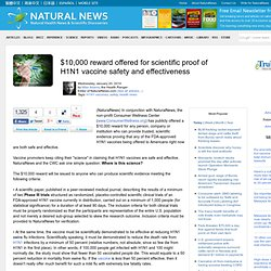 $10,000 reward offered for scientific proof of H1N1 vaccine safe