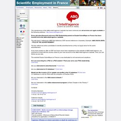 Emploi Scientifique en France