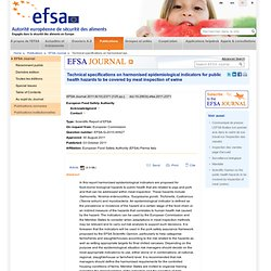 EFSA 03/10/11 Epidemiological indicators for meat inspection of swine