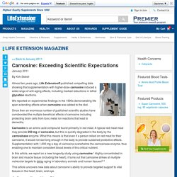 Carnosine: Exceeding Scientific Expectations – Life Extension