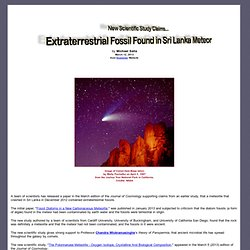 New Scientific Study Claims Extraterrestrial Fossil Found in Sri Lanka Meteor