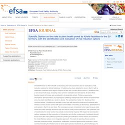 EFSA 06/01/15 Scientific Opinion on the risks to plant health posed by Xylella fastidiosa in the EU territory, with the identification and evaluation of risk reduction options