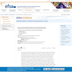 EFSA 06/06/12 Scientific Opinion on Mineral Oil Hydrocarbons in Food