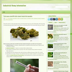 Find some scientific facts about industrial cannabis ~ Industrial Hemp Information
