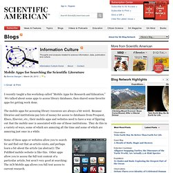 Mobile Apps for Searching the Scientific Literature | Information Culture