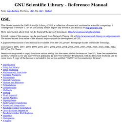 Scientific Library -- Reference Manual