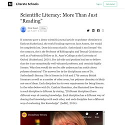 """Scientific Literacy: More Than Just """"Reading"""""""