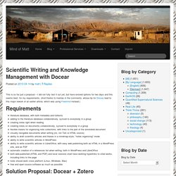 Scientific Writing and Knowledge Management with Docear « Mind of Matt