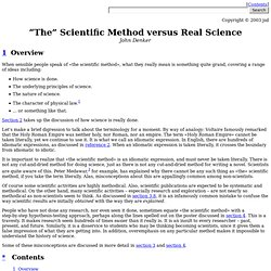 """The"" Scientific Method versus Real Science"