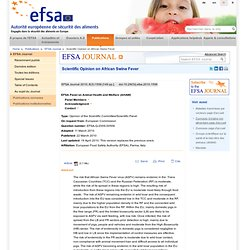 EFSA 22/03/10 Scientific Opinion on African Swine Fever