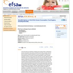 EFSA 26/10/10 Scientific Opinion on Fish Oil for Human Consumption. Food Hygiene, including Rancidity