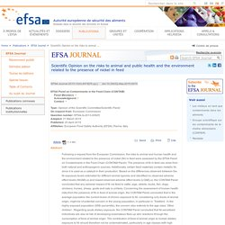EFSA 20/04/15 Scientific Opinion on the risks to animal and public health and the environment related to the presence of nickel in feed