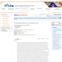 EFSA 09/01/15 Scientific Opinion on the development of a risk ranking toolbox for the EFSA BIOHAZ Panel