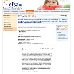 EFSA Journal 2013;11(9):3371 [7 pp.]. Scientific Opinion on a request from the European Commission related to the emergency meas