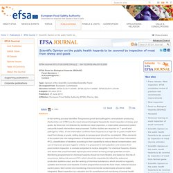 EFSA 27/06/13 Scientific Opinion on the public health hazards to be covered by inspection of meat from sheep and goats