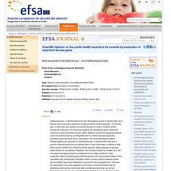 EFSA 27/06/13 Scientific Opinion on the public health hazards to be covered by inspection of meat from farmed game.