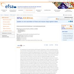 EFSA 14/07/15 Update on oral vaccination of foxes and raccoon dogs against rabies