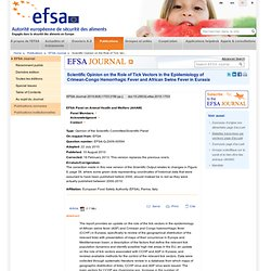 EFSA 11/08/10 Scientific Opinion on the Role of Tick Vectors in the Epidemiology of Crimean-Congo Hemorrhagic Fever and African