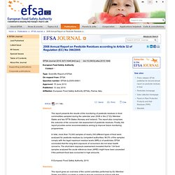 EFSA Journal 2010; 8(7):1646 2008 Annual Report on Pesticide Residues according to Article 32 of Regulation (EC) No 396/2005