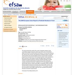 EFSA Journal 2011;9(11):2430 The 2009 European Union Report on Pesticide Residues in Food