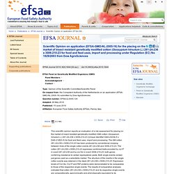 EFSA 15/06/10 Scientific Opinion on application (EFSA-GMO-NL-2005-16) for the placing on the market of insect resistant genetica
