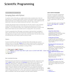 Scientific Programming: Scraping Data with Python
