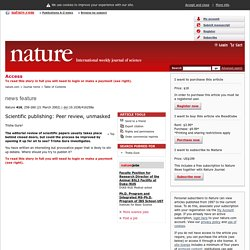 Scientific publishing: Peer review, unmasked : Nature