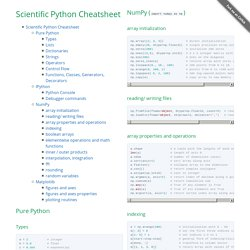 Scientific python cheat sheet by IPGP