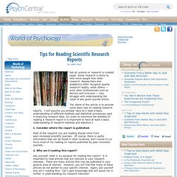Tips for Reading Scientific Research Reports