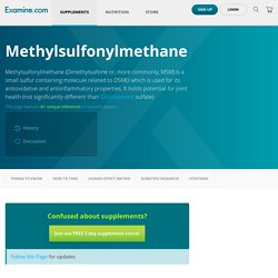 Methylsulfonylmethane - Scientific Review on Usage, Dosage, Side Effects