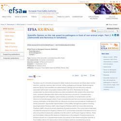 EFSA 02/10/14 Scientific Opinion on the risk posed by pathogens in food of non-animal origin. Part 2 (Salmonella and Norovirus in tomatoes)