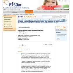 EFSA 02/10/08 Vitamine D et croissance osseuse - Justification scientifique d'une allégation de santé concernant la vitamine D e