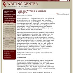 Scientific Synopsis - Writing Center - The University of Oklahoma