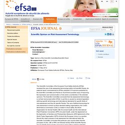 EFSA 31/05/12 Scientific Opinion on Risk Assessment Terminology .