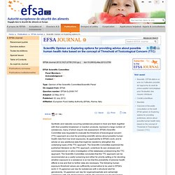 EFSA 02/07/12 Opinion on Threshold of Toxicological Concern.