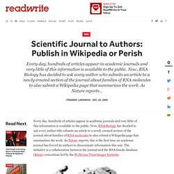 Scientific Journal to Authors: Publish in Wikipedia or Perish - ReadWriteWeb