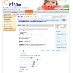 EFSA 08/03/12 EU summary report on zoonoses, zoonotic agents and food-borne outbreaks 2010 .