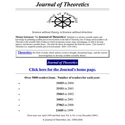 Journal of Theoretics - Nonprofit peer-reviewed Journal of scientifically credible theories from all disciplines. Original article.